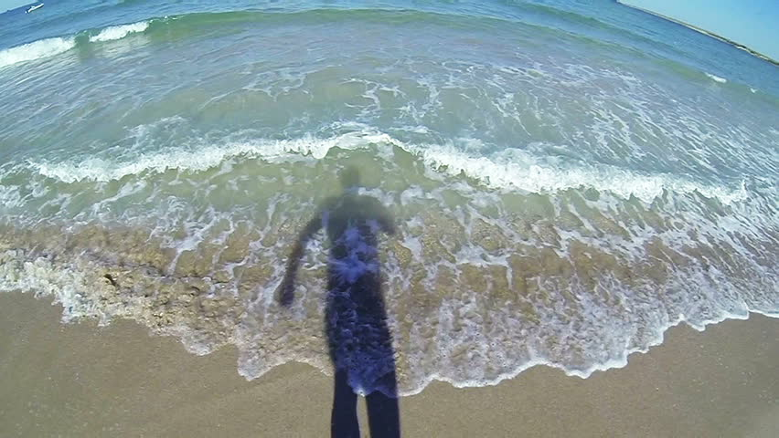 SLOW MOTION: Man swimming in the sea POV - HD stock video clip