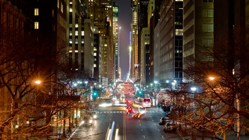 Manhattan timelapse of crosstown view of 42nd street