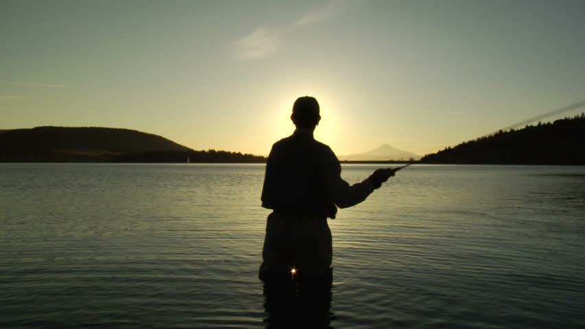 Fly fishing Silhouette - HD stock video clip