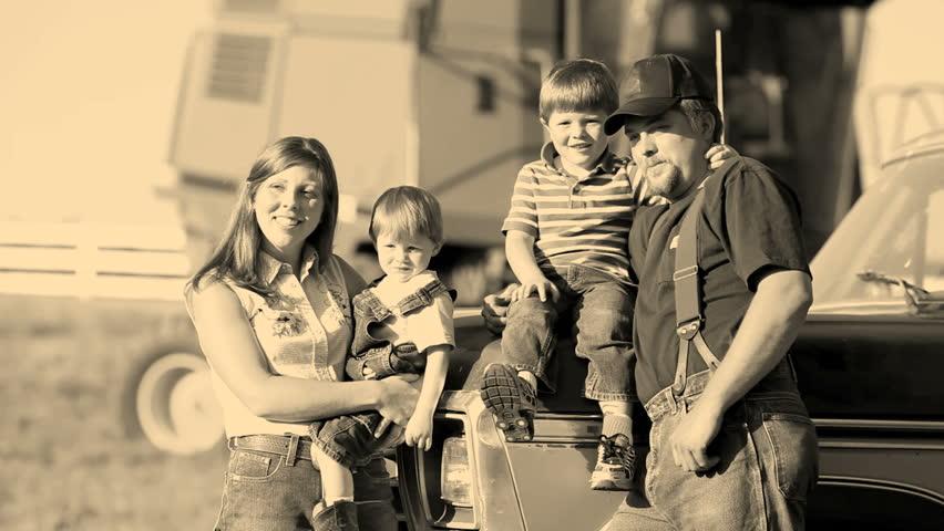 Farmer with family