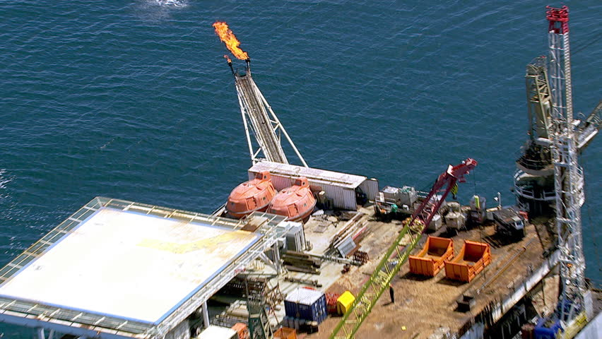 Aerial shot of off shore oil platform
