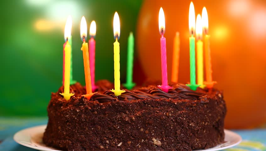 Candles on the birthday cake episode 3 - HD stock footage clip