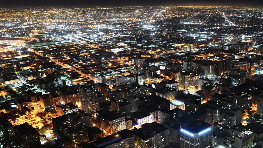Downtown LA Night Cityscape Time Lapse -Industrial Complex Pan