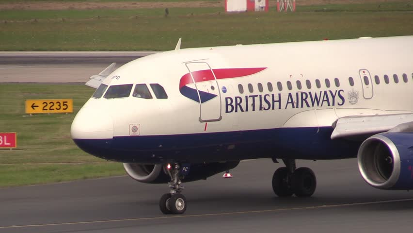 DUSSELDORF AIRPORT, GERMANY - JULY 12 2013:  British airways taxiway