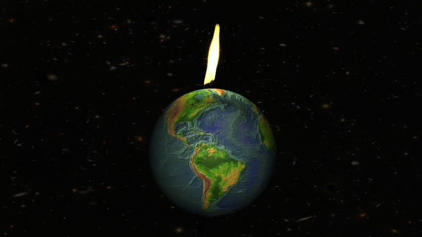 The world is suffering! We're using all world fossil fuel reserves and burn them too fast! This animation shows the planet, slowly spinning around, with a flame on top. Seamless loop.