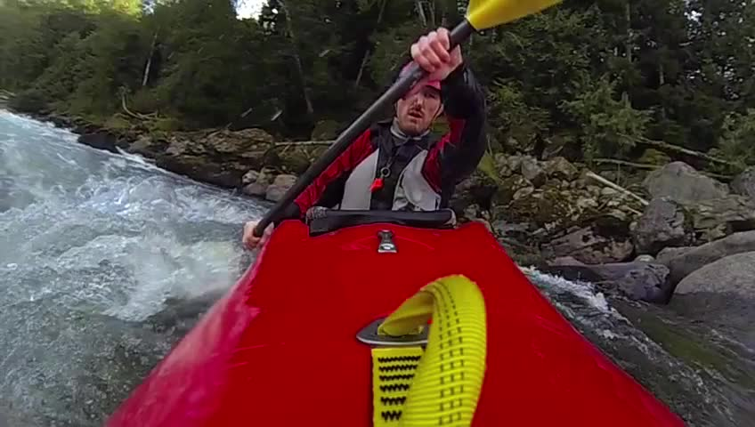 Whitewater kayaking, slow motion - SD stock video clip
