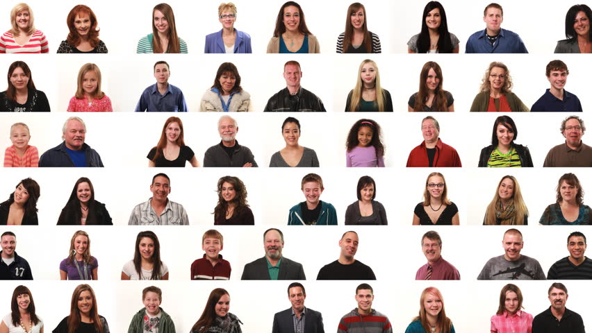 Large montage of people on white background