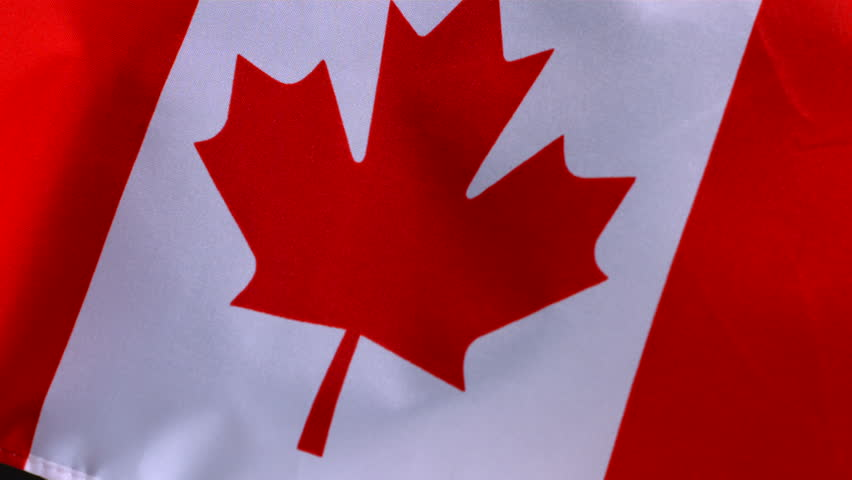 Canadian Flag Waving In Wind, Closeup, Slow Motion Stock ...