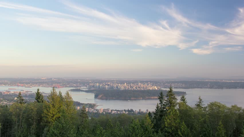 Urban Scenic Cityscape View and Lion's Gate Bridge in Burrard Inlet of Vancouver BC Canada - HD stock footage clip