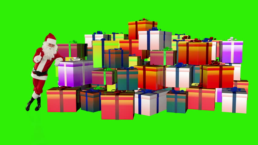 Santa Claus magically piling up gift boxes, Green Screen - HD stock footage clip