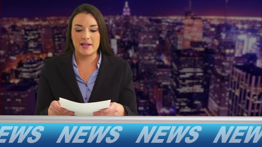 News reporter talking in studio