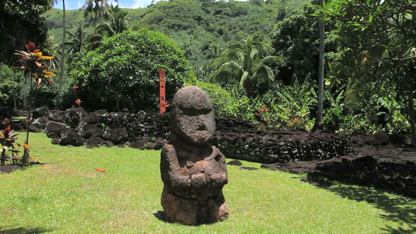 Tahiti statue at Marae pyramid - HD stock footage clip