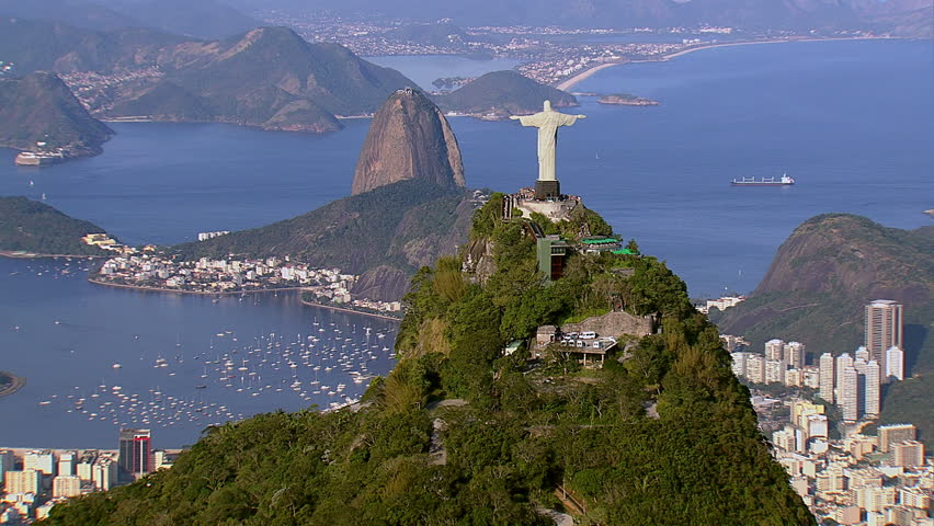 Aerial view of Christ the Redeemer and Sugarloaf, Rio de Janeiro, Brazil