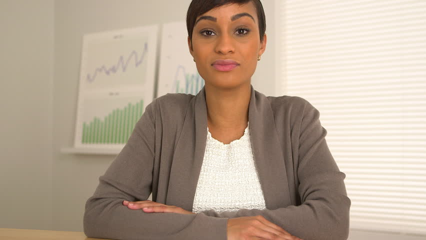 Web conference with black business woman
