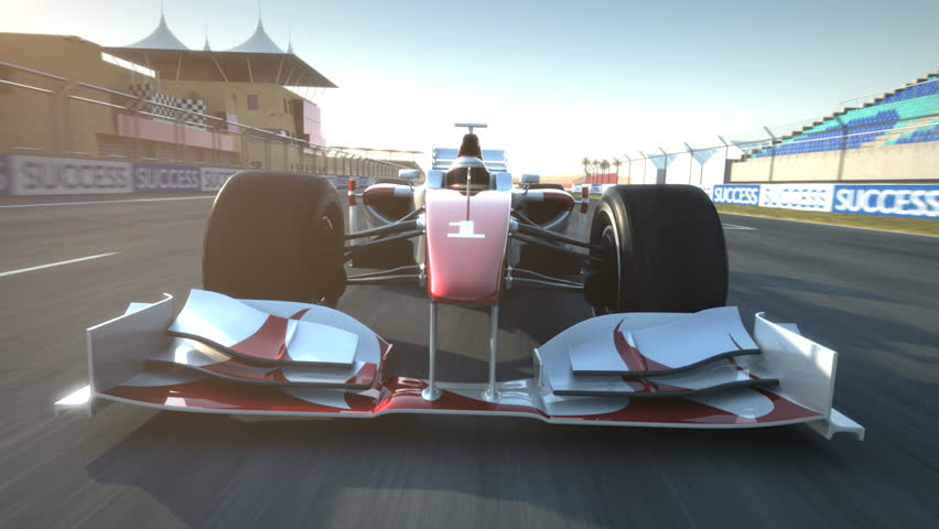 Formula One race car speeding along home stretch and past camera - high quality 3d animation - visit our portfolio for more