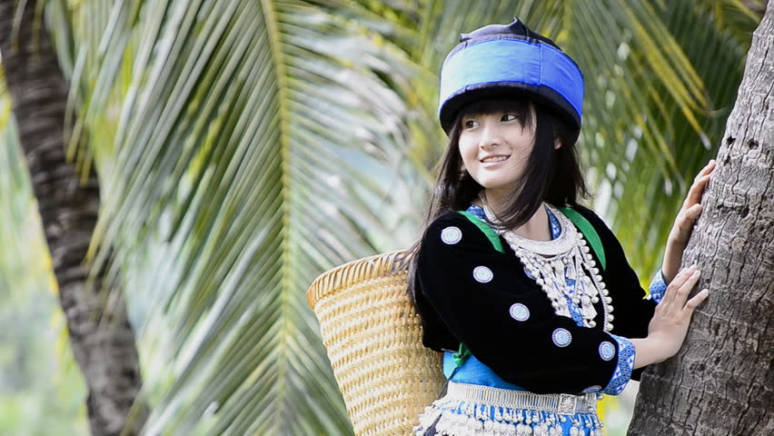 Cute Asian Girl In Beautiful Hill Tribe (HMONG) Costume Of ..