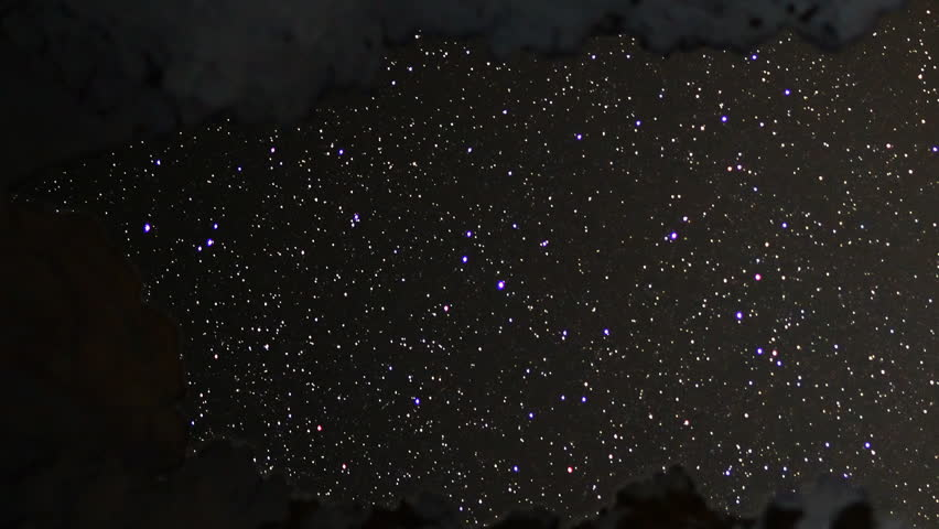 Starry Sky seen through Cave -Time Lapse- Pan