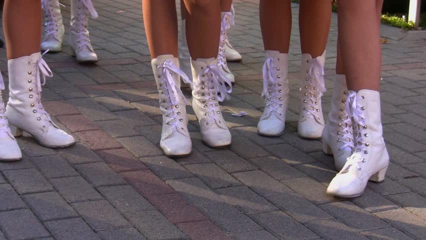 Cheerleader team girls waiting to start performance - HD stock video clip