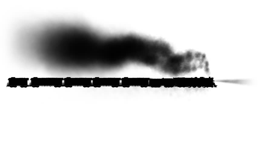 Steam train  + Alpha channel,  loop With this  file you can get fifteen seconds of loopable animation. Cut footage in the half and use last fifteen seconds as a luma inverted mask for the first part.