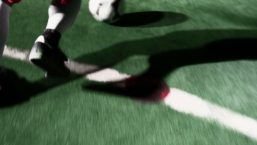 Playing soccer - closeup on feet - slow and fast motion with flash effects