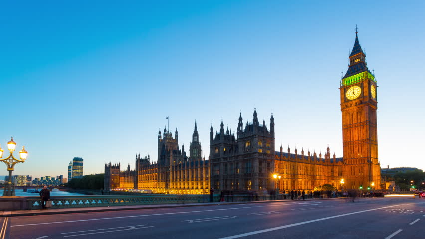 Time lapse footage of rush hour traffic on Westminster Bridge in London with Houses of Parliament and Big Ben in the background, London, England, United Kingdom - HD stock video clip