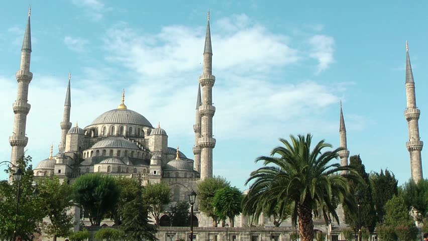 ISTANBUL, TURKEY - OCTOBER 29, 2013: Blue Mosque ( Sultan Ahmed ) is the most popular historical mosque in Istanbul, Turkey. It is open everyday for tourists. - HD stock video clip