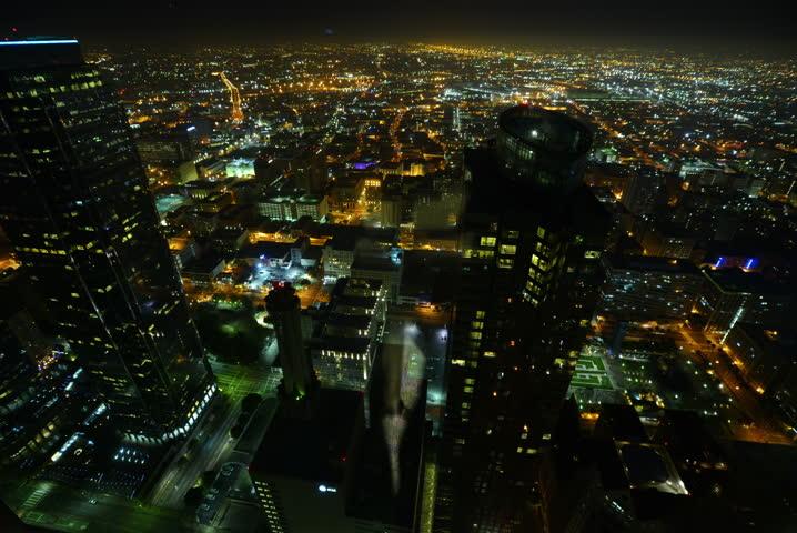 4K Night Cityscape Timelapse 90 Los Angeles Freeway Traffic - 4K stock footage clip