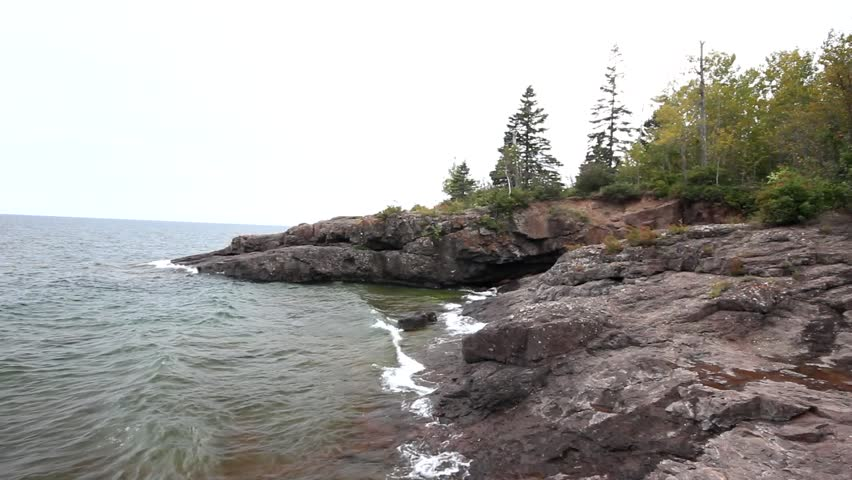 Shores of Lake Superior at Gooseberry State Park  in Autumn - HD stock footage clip