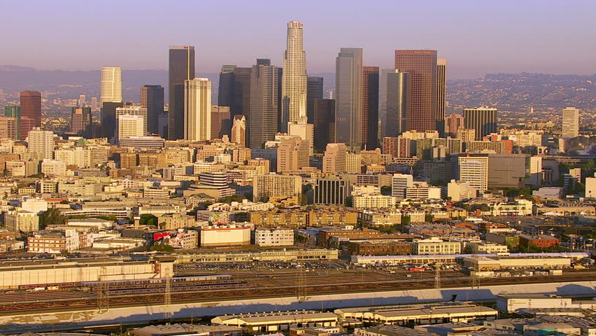 Los Angeles, California, USA - March 22, 2012: Aerial shot of downtown Los Angeles at sunrise