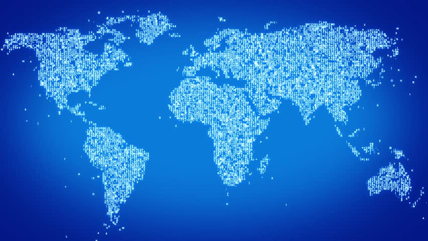 Numbers and symbols form the world map, blue tint. More symbols and color backgrounds available - check my portfolio. - HD stock footage clip