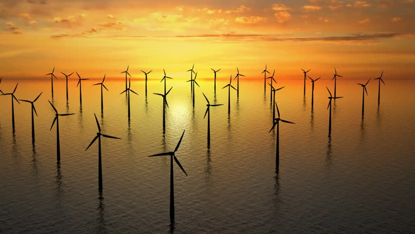 Wind farm near Denmark at sunset on sea - high definition footage. - HD stock video clip