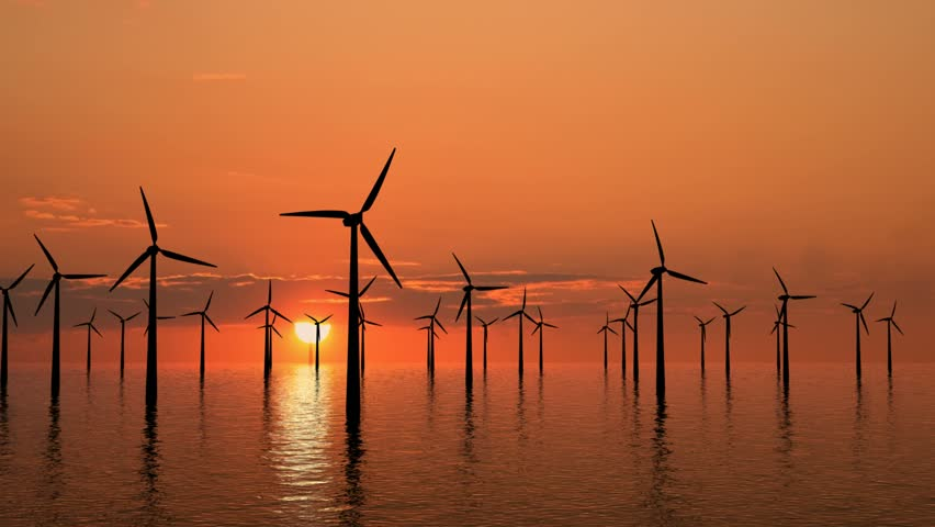 Wind farm at sunset on sea - high definition footage. - HD stock footage clip