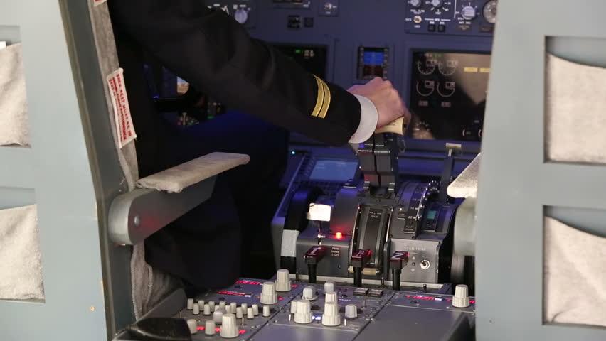 Pilot Operating the Throttle for Landing
