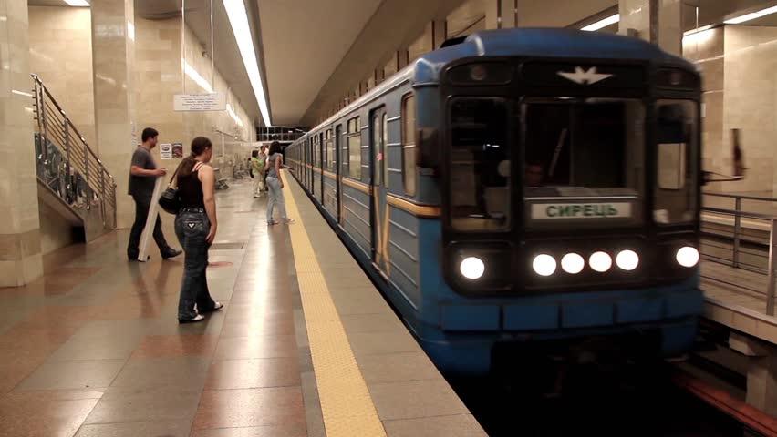 UKRAINE, KIEV, MAY 20, 2010: People inside underground station. Train arrival, Kiev, Ukraine, May 20, 2010 - HD stock footage clip