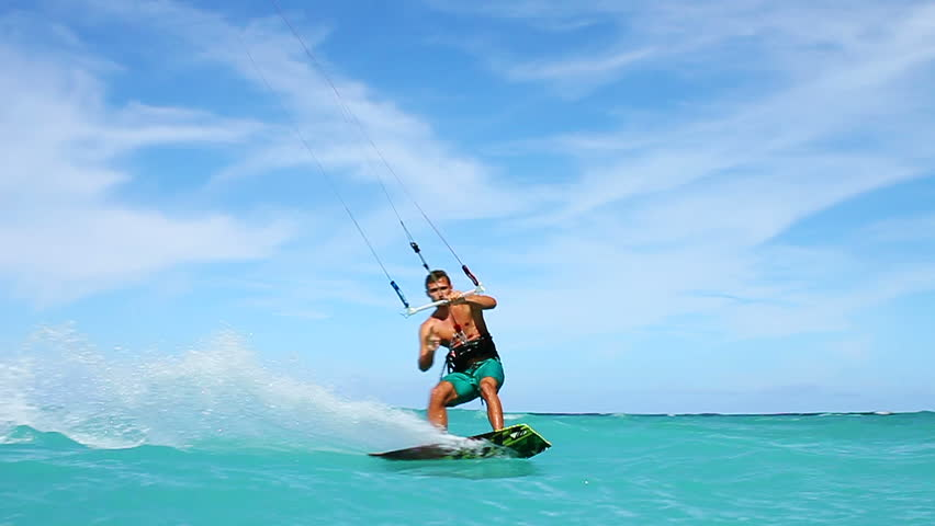 Young Man Kitesurfing in Ocean, Extreme summer sport hd, Slow motion
