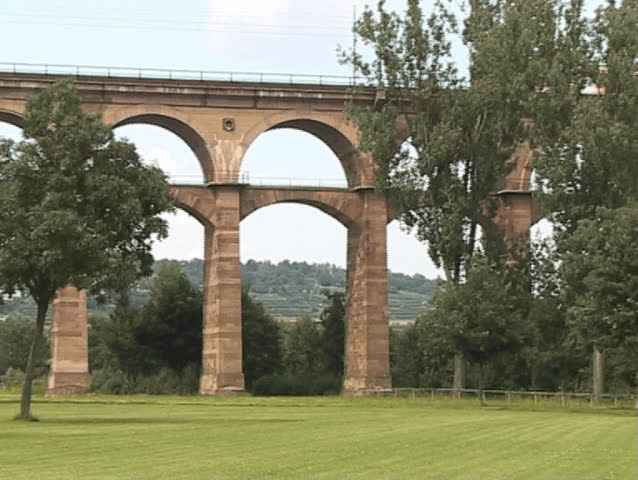 Tram crossing the viaduct of Bietigheim - SD stock video clip