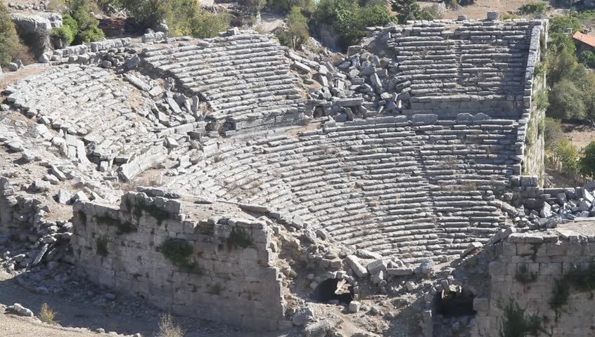 Ruins Of Ancient Theater In Selge, Turkey Stock Footage ...