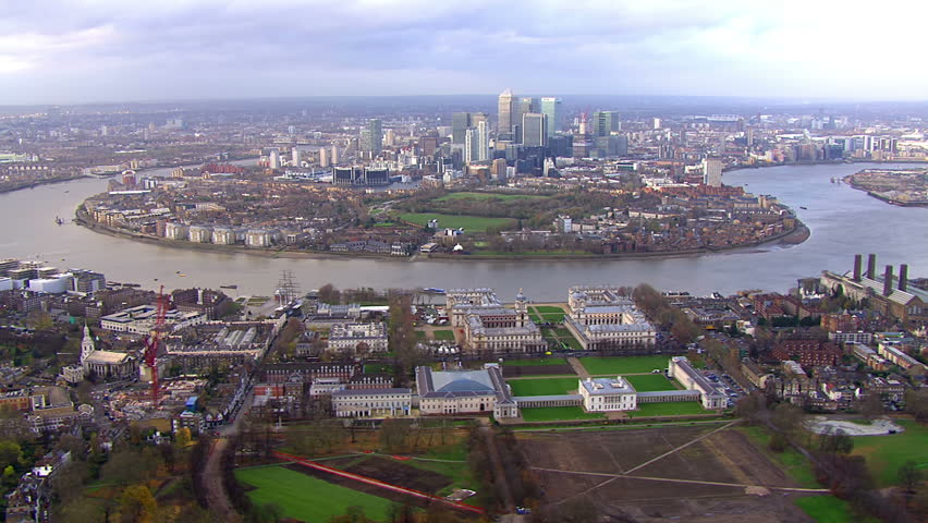 Spectacular panoramic aerial view above an area of London, England, known as the Isle of Dogs