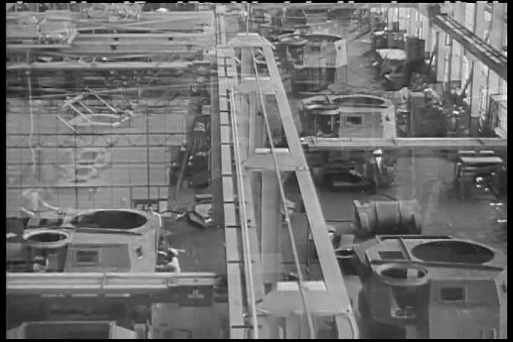 1940s era film showing the first assembly line plants in America dedicated to making tanks for WWII.