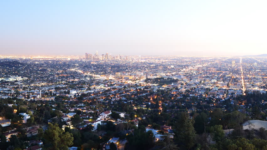 4K Time Lapse of Los Angeles Cityscape at Twilight
