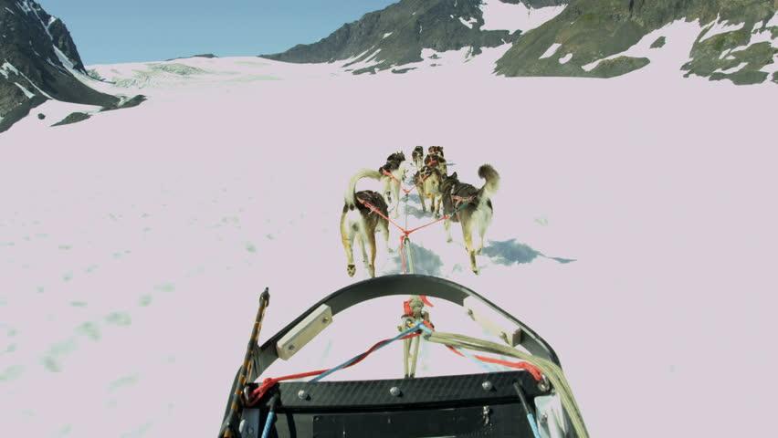 POV of husky dog team traversing snow covered high mountain plateau, Alaska, USA, RED EPIC, 4K, UHD, Ultra HD resolution