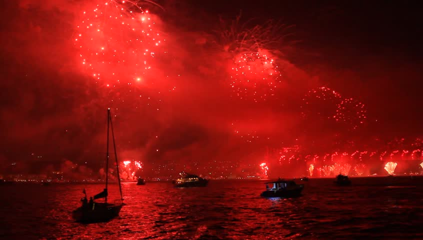 New Years Eve Celebrations in Istanbul. Fireworks set the sea of Bosphorus on fire