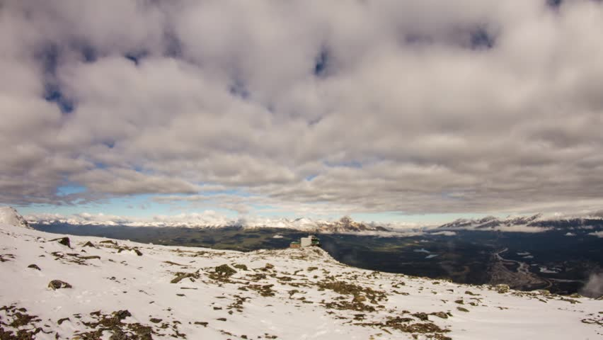 Time lapse shot of Cloudy day up on Whistlers Mountain in Jasper National Park