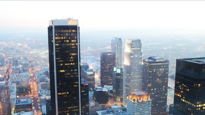 4K Night Cityscape Time Lapse of Downtown Los Angeles -Tilt Down-