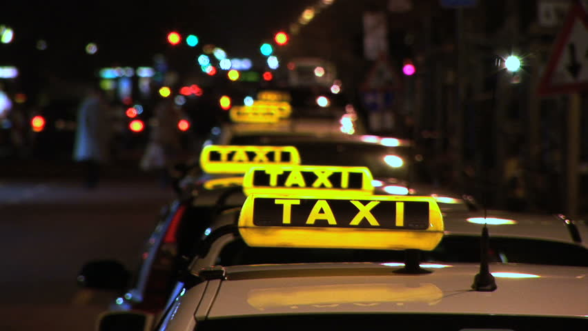 taxi at night stock footage video 543850 shutterstock. Black Bedroom Furniture Sets. Home Design Ideas