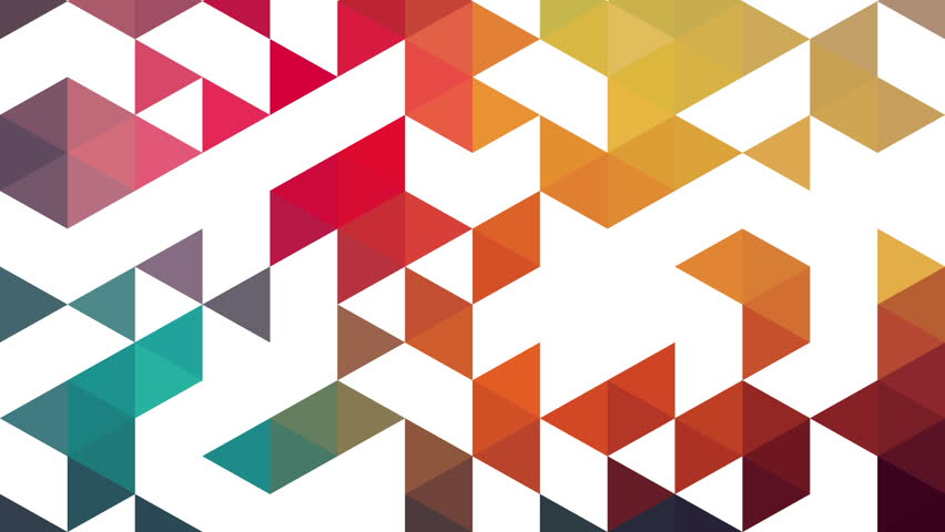 Triangles hipster animation, retro pattern of geometric shapes. Colorful mosaic banner. Geometric hipster retro background. Retro triangle background animation. Triangles appears. Stop motion.
