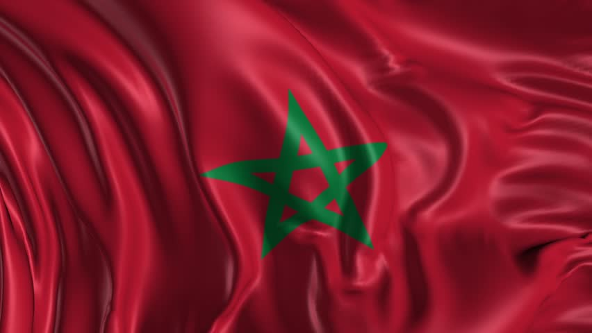 Flag of Morocco Beautiful 3d animation of the Morocco flag in loop mode