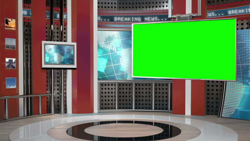 This background is designed to be used as a virtual background in a green screen or chroma key video production.  Simply add this video behind your talent shot to create a modern news scene.
