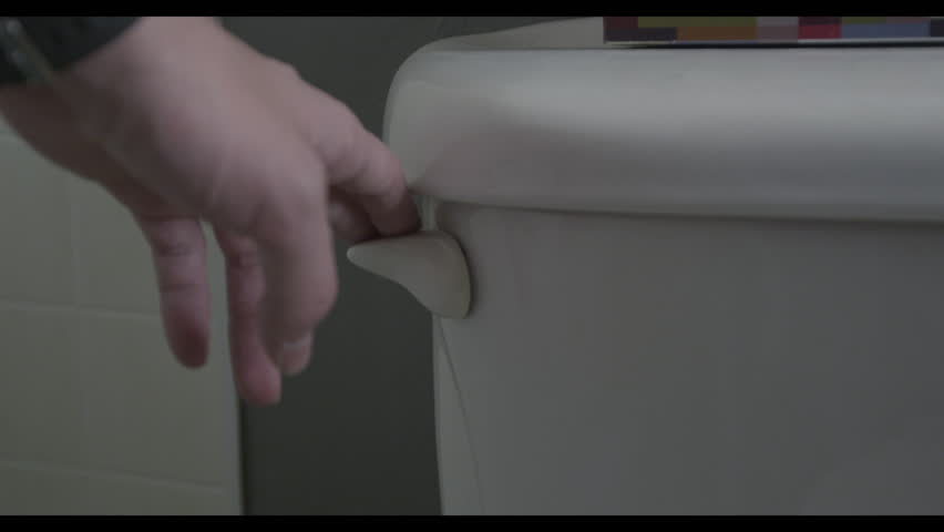 Close up toilet handle flushing