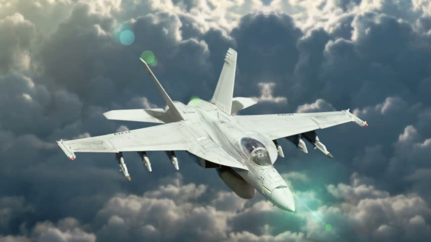 F-18 Fighter Jet, flying at high altitude,